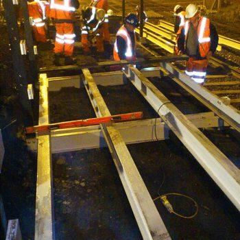 A trestle platform being installed
