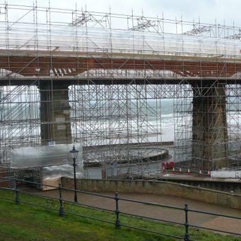 Scarborough Spa Footbridge GRP Scaffolding Erected