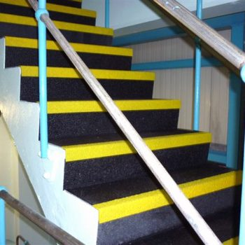 Anti slip stair nosing installed