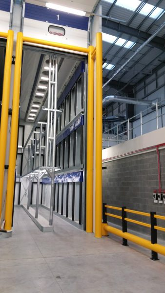 Flex Impact goal post height restrictors in food distribution centre