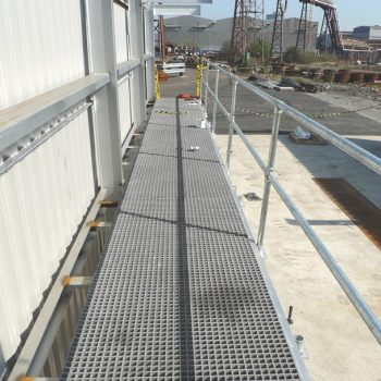GRP grating installation at Steel manufacturing plant