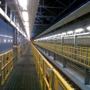 Removal GRP handrail system at railway rolling stock depot