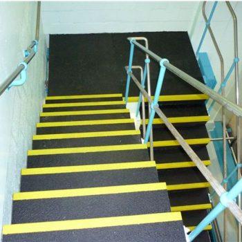 Top down view of anti slip stairing
