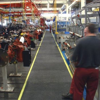 Anti slip walkway at tractor plant
