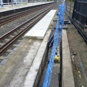 Mid Installation of anti slip paving Railway Platform