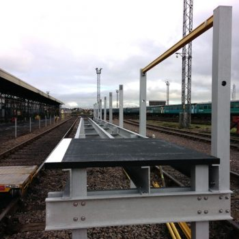 Railway access platform mid installation