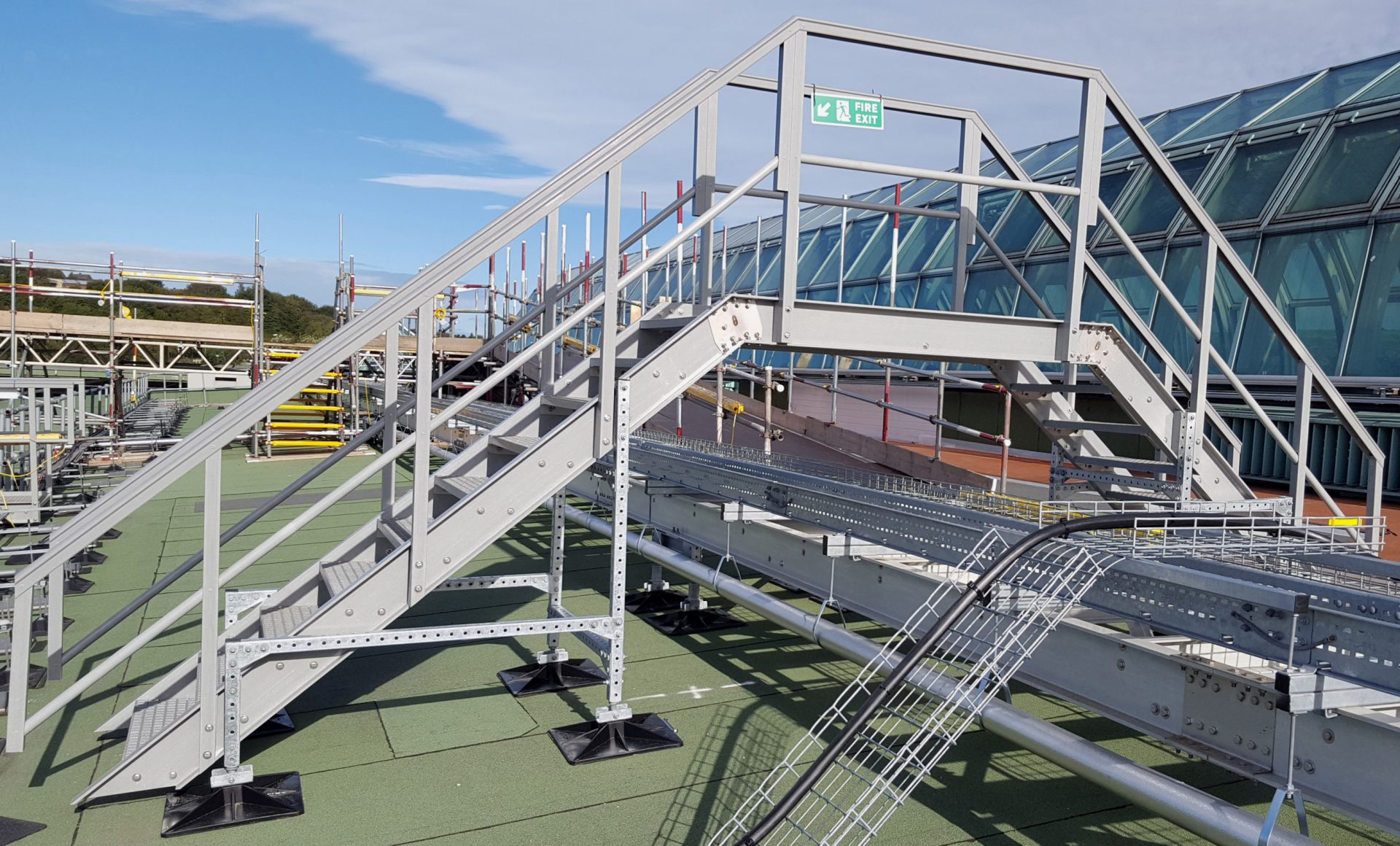 Evergrip GRP Fixed Step Over access platform M&E services rooftop