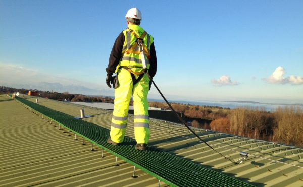 Evergrip GRP Grating - Raised Roof access walkway with fall arrest (by Heightsafe)