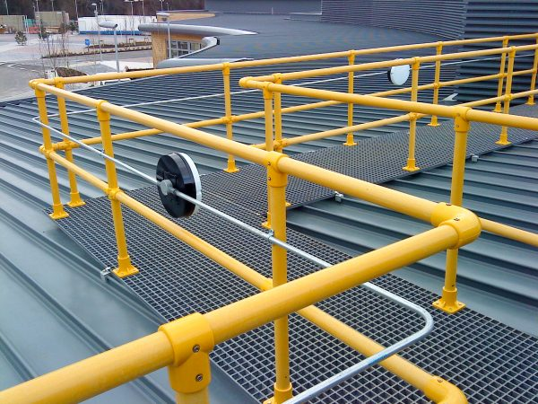 Evergrip GRP Raised roof walkway with guard rail