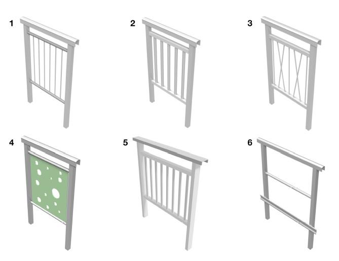 Fiberline Modular GRP Handrail Standard Design Types