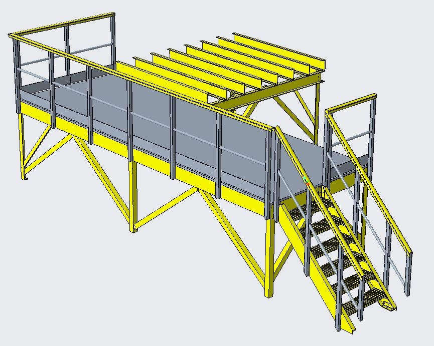Fibreglass access platform with dosing kiosk support frame design proposal