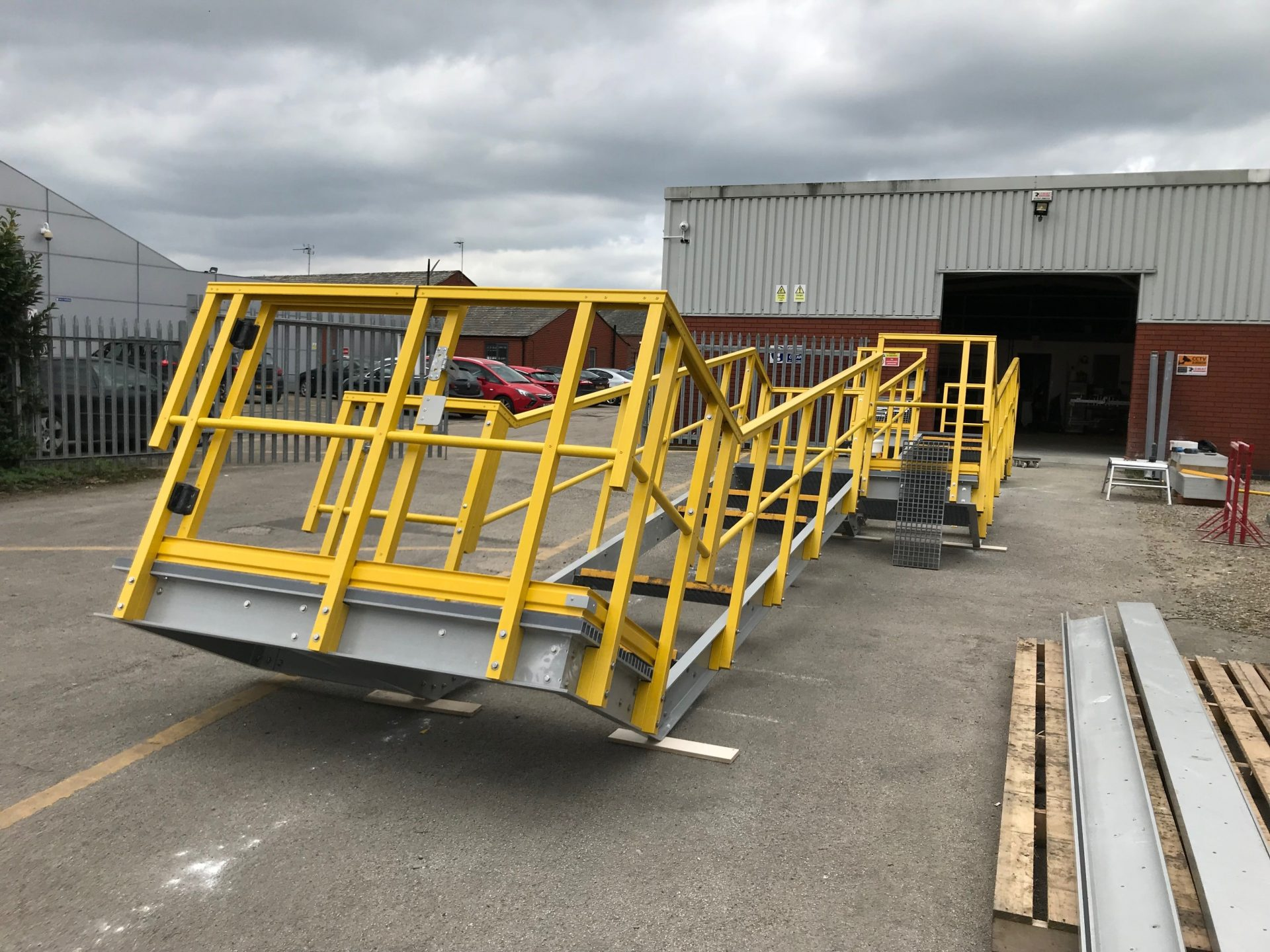 Fibreglass embankment staircase for disassembly prior to shipment