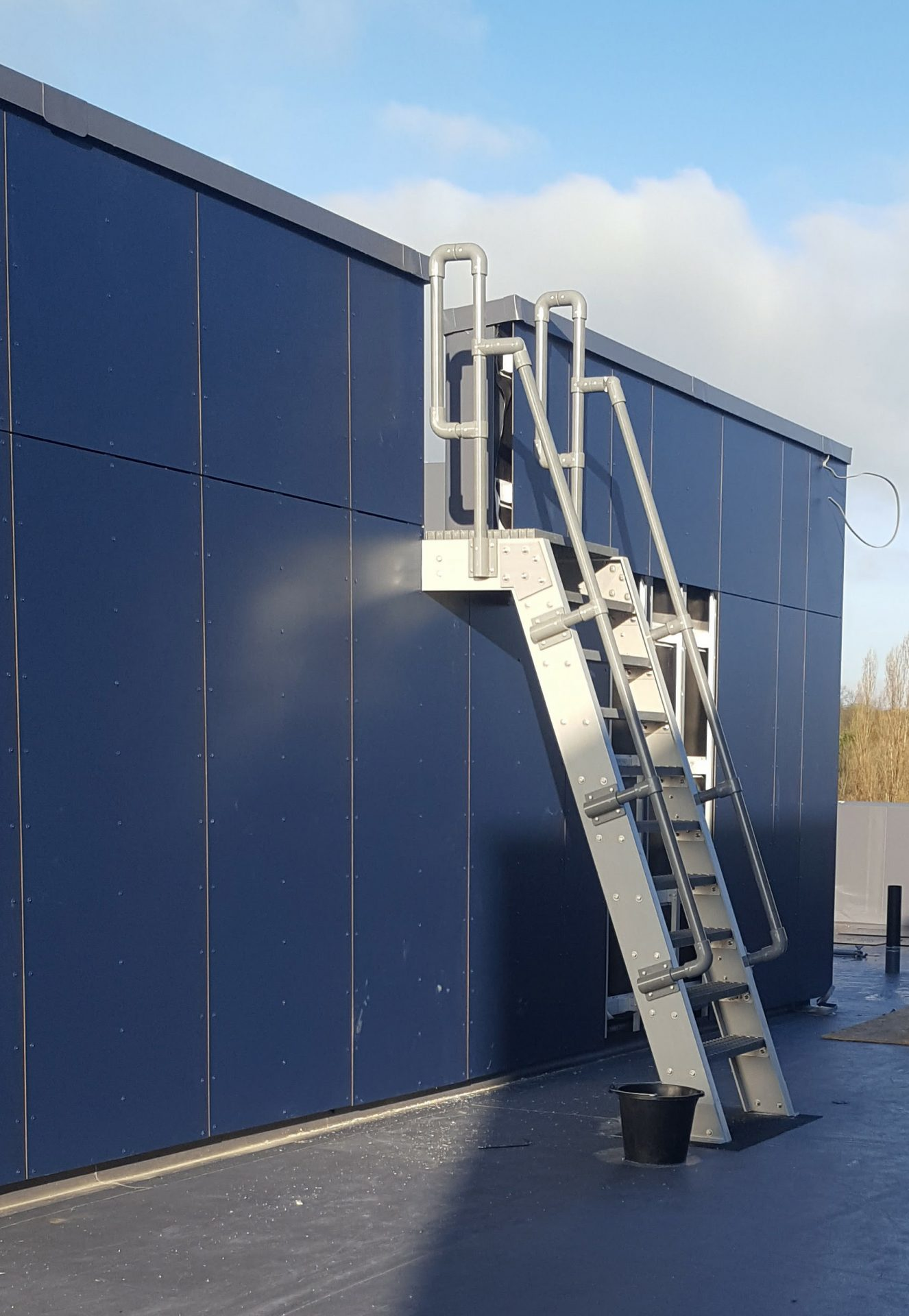 Fibreglass fixed roof access ladder with handrails