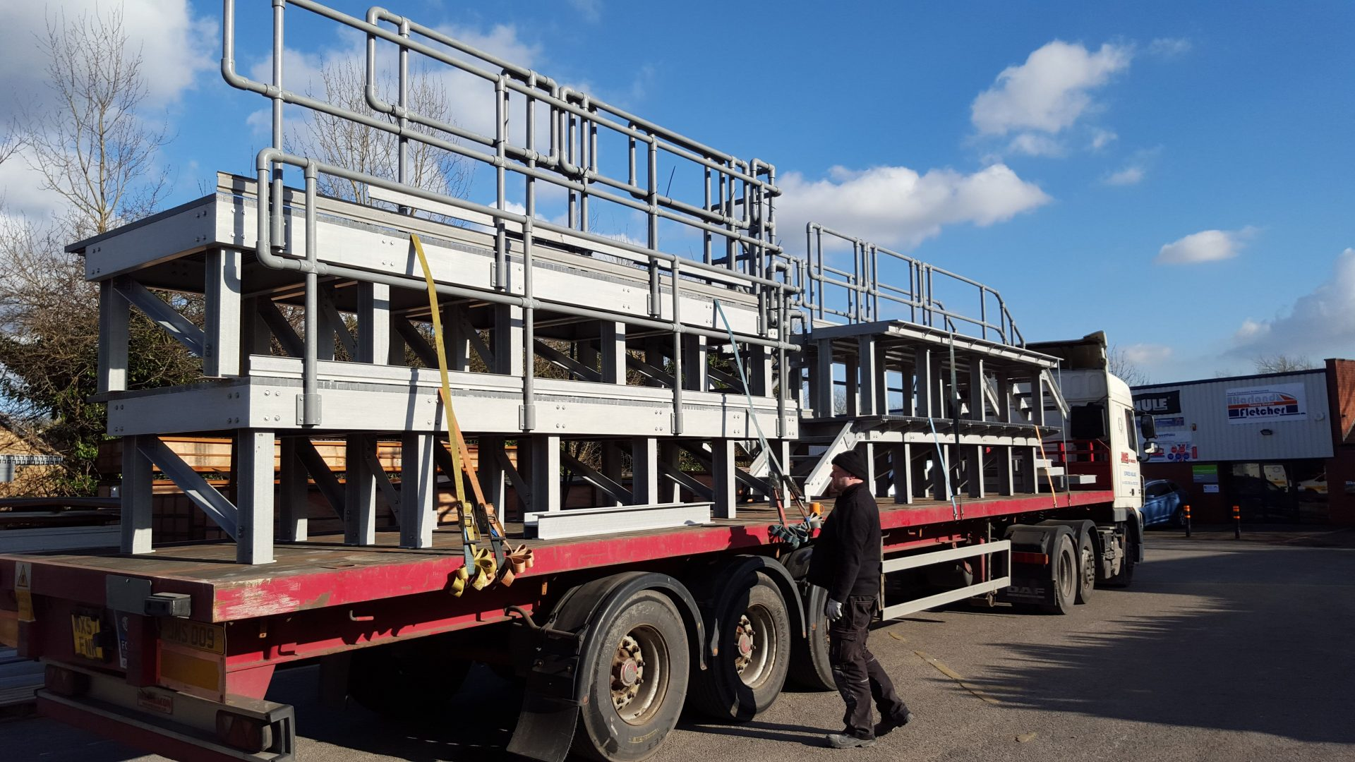 Fibreglass safe access platforms for railway maintenance depot