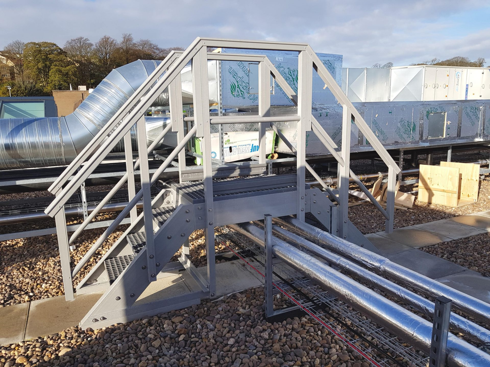 Fibreglass safety step up and over access platform with handrails