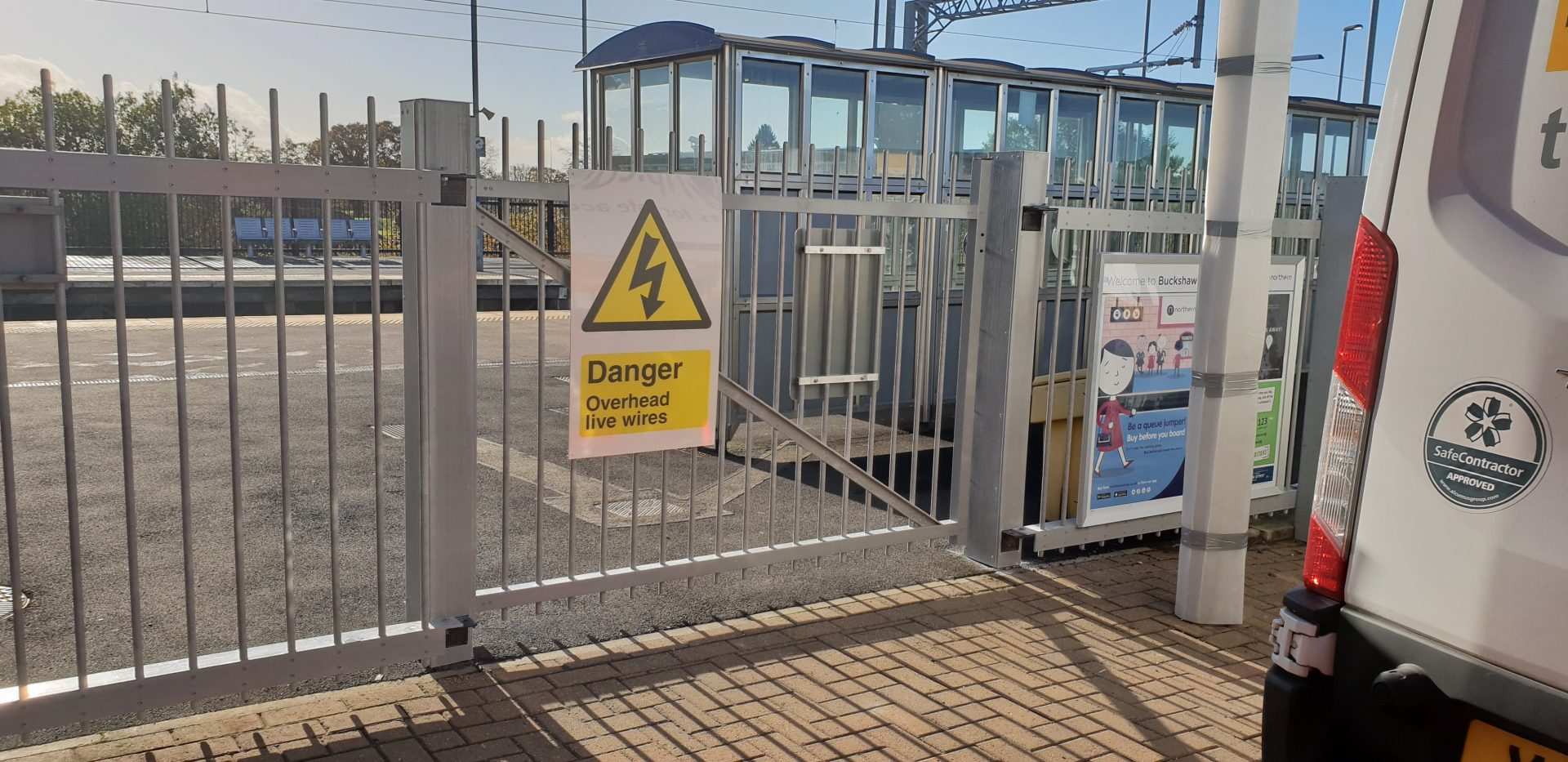 Fibreglass security fencing and gate railway station