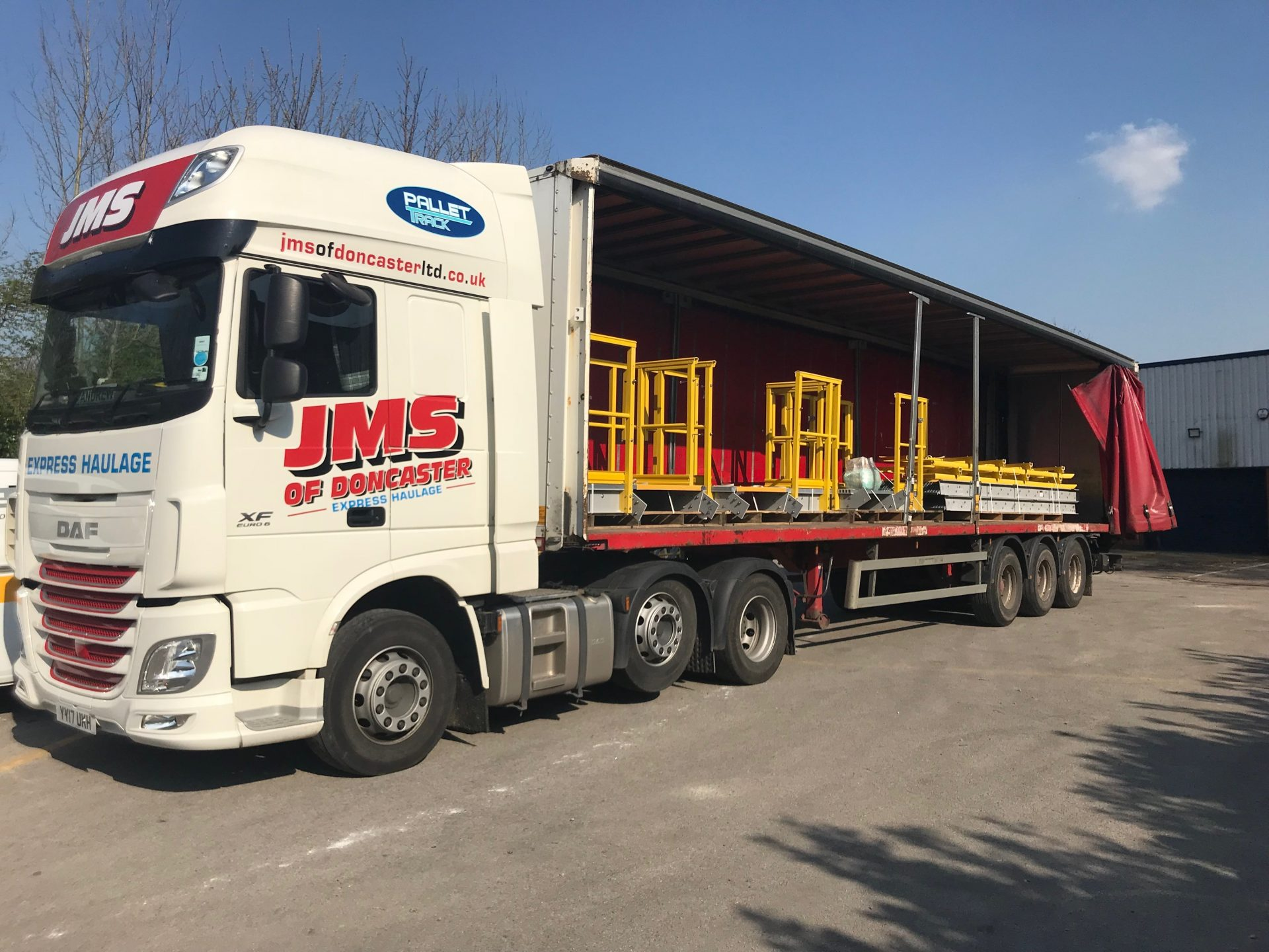 GRP Embankment staircase kit loaded for delivery and reassembly