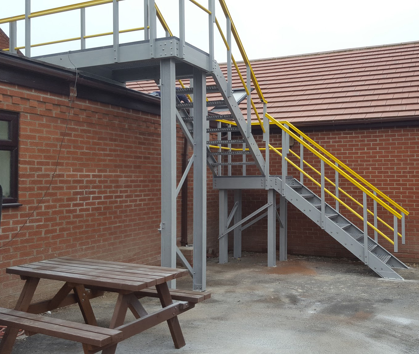 GRP Fibreglass Access stairs landing flat roof walkway with guardrails