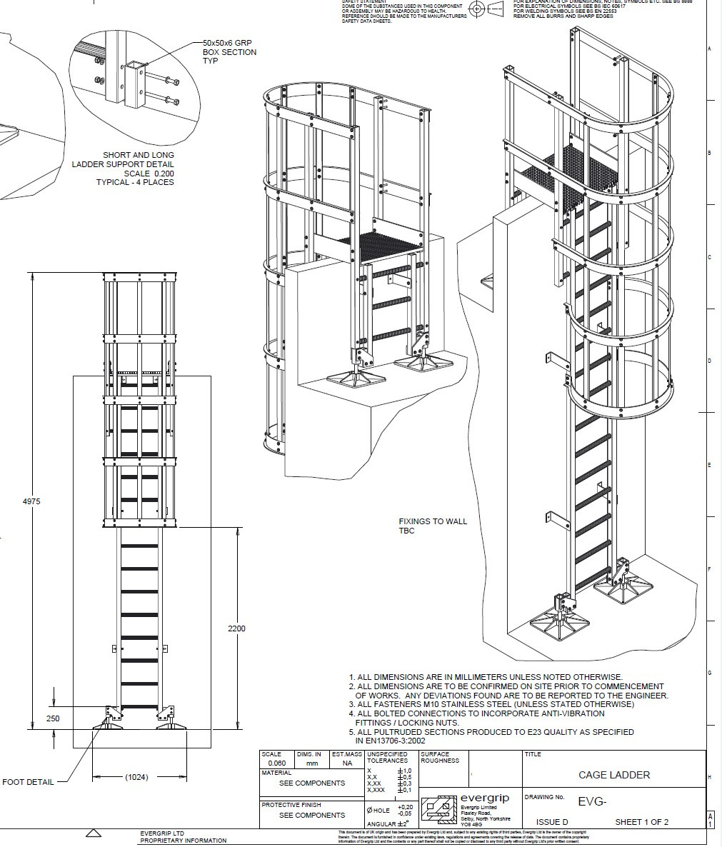 GRP Fixed Access Ladder Design & Build