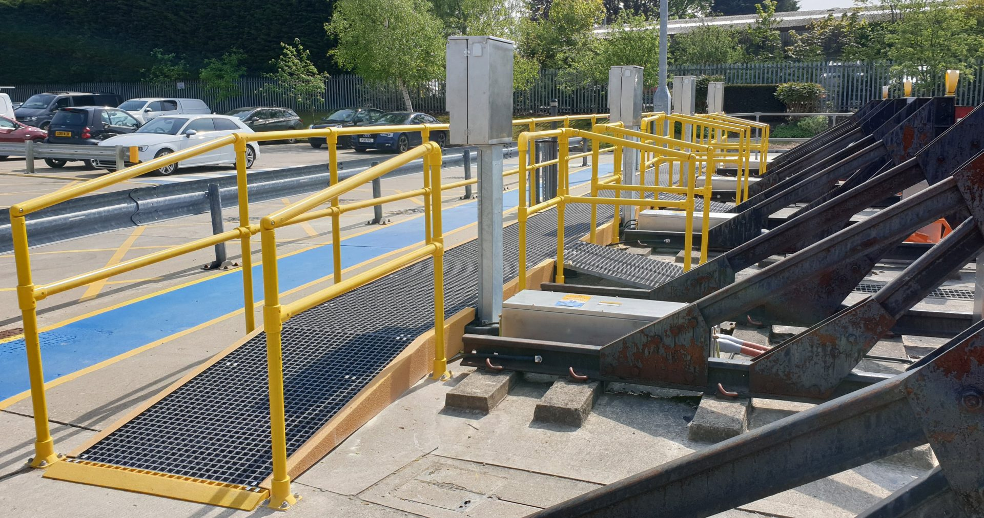 GRP Raised Walkway with Handrail Ramp Railway Depot Road End Access