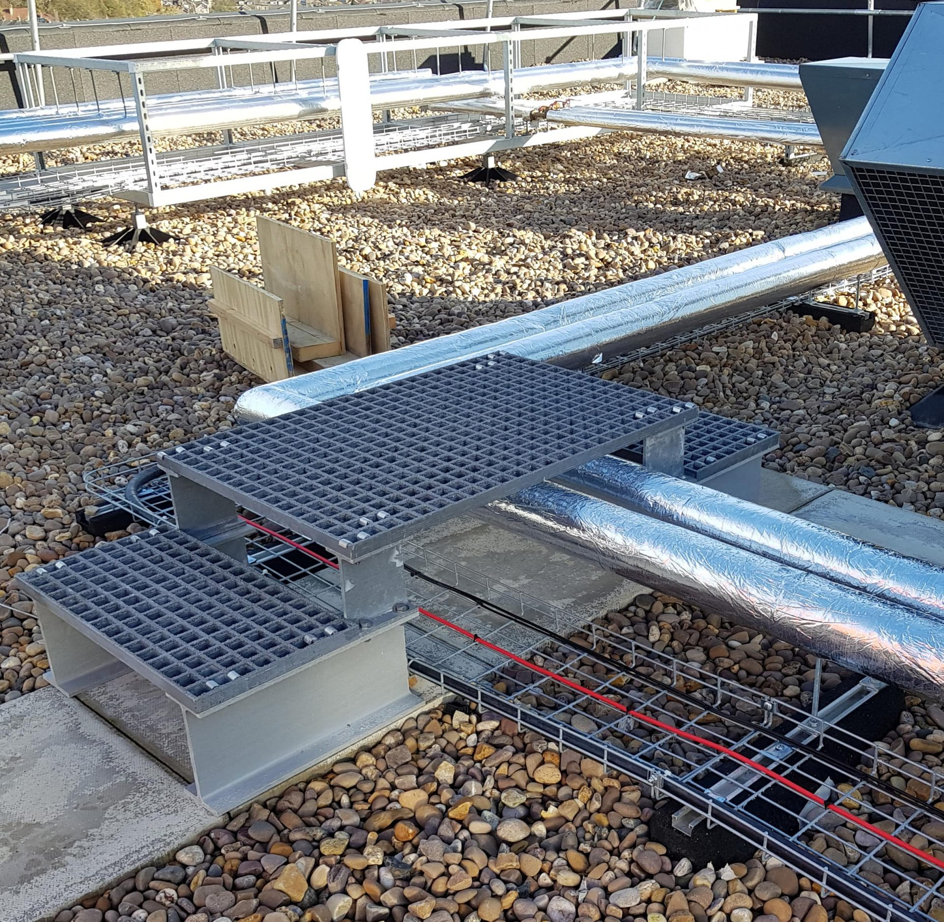 GRP access step up and over rooftop plant services