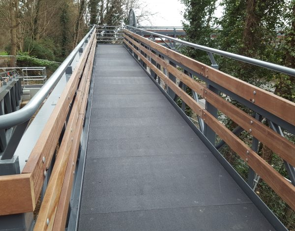 GRP flooring sheets for pedestrian access walkway retail centre steel structure