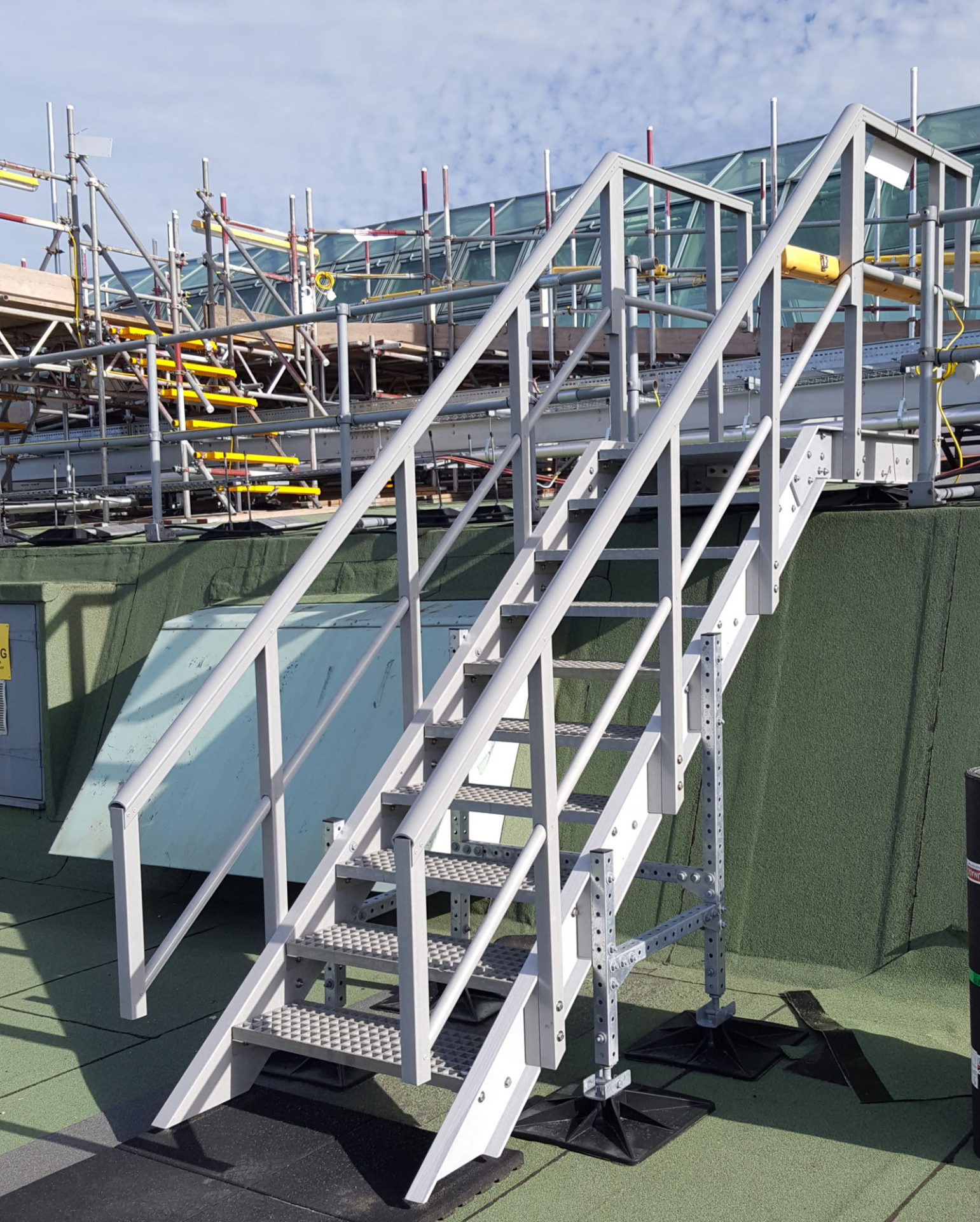 GRP fixed staircase with safety guardrail commercial premises roof