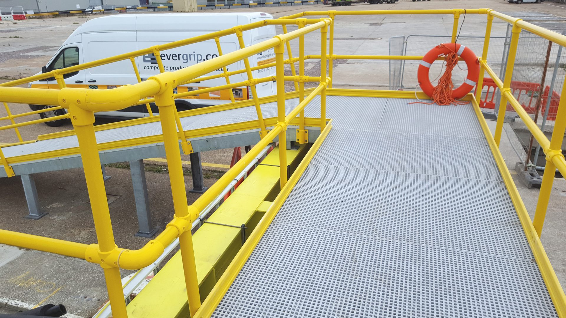 GRP grating and guard rail quayside ramped safe access walkway steel frame