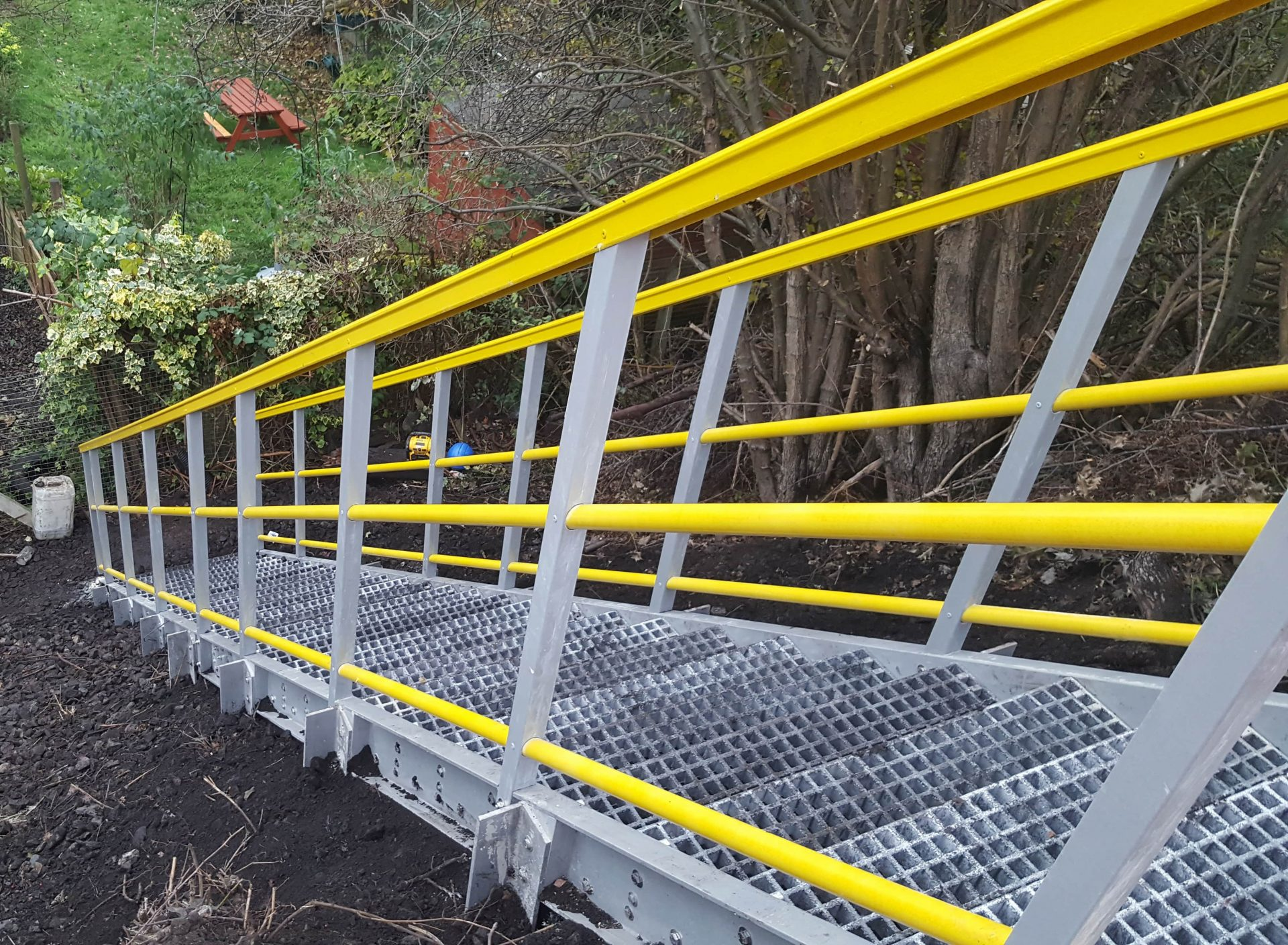 GRP permanent embankment stairs offer rapid installation times