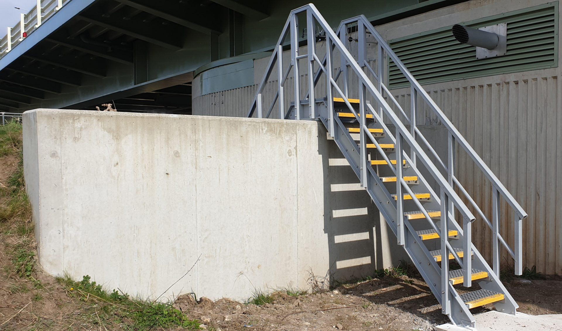 GRP raised access walkway entrance steps with guardrails