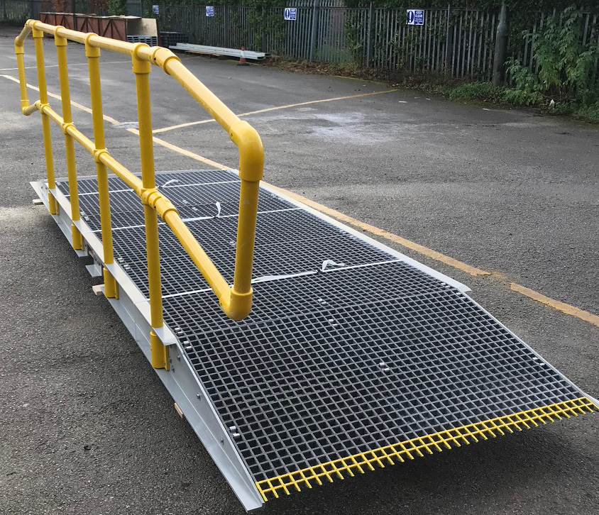 Glass fibre composite portable raised access walkway ramp with handrail
