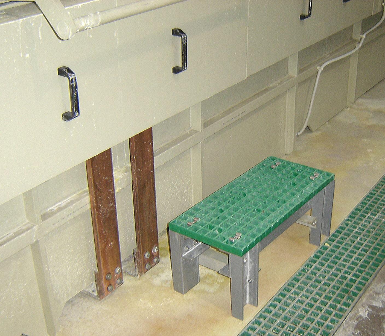 Machinery access custom made fibreglass step up small