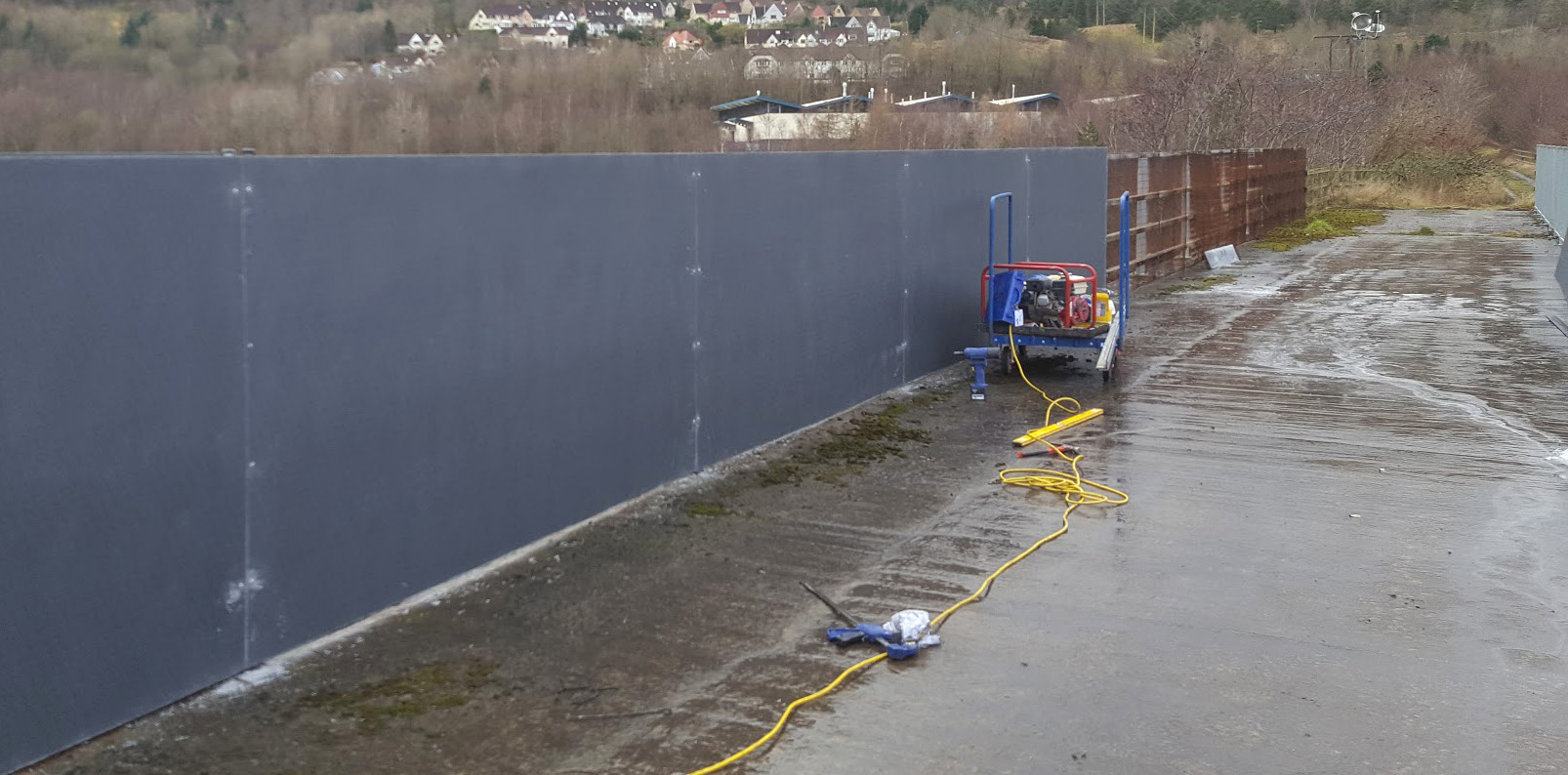 Solid GRP panel installation railway bridge fence screen