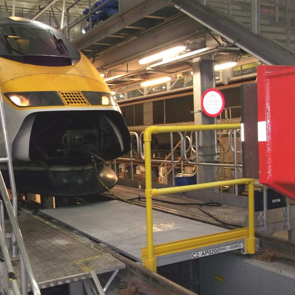 Train care depot GRP inspection pit cover board with handrail