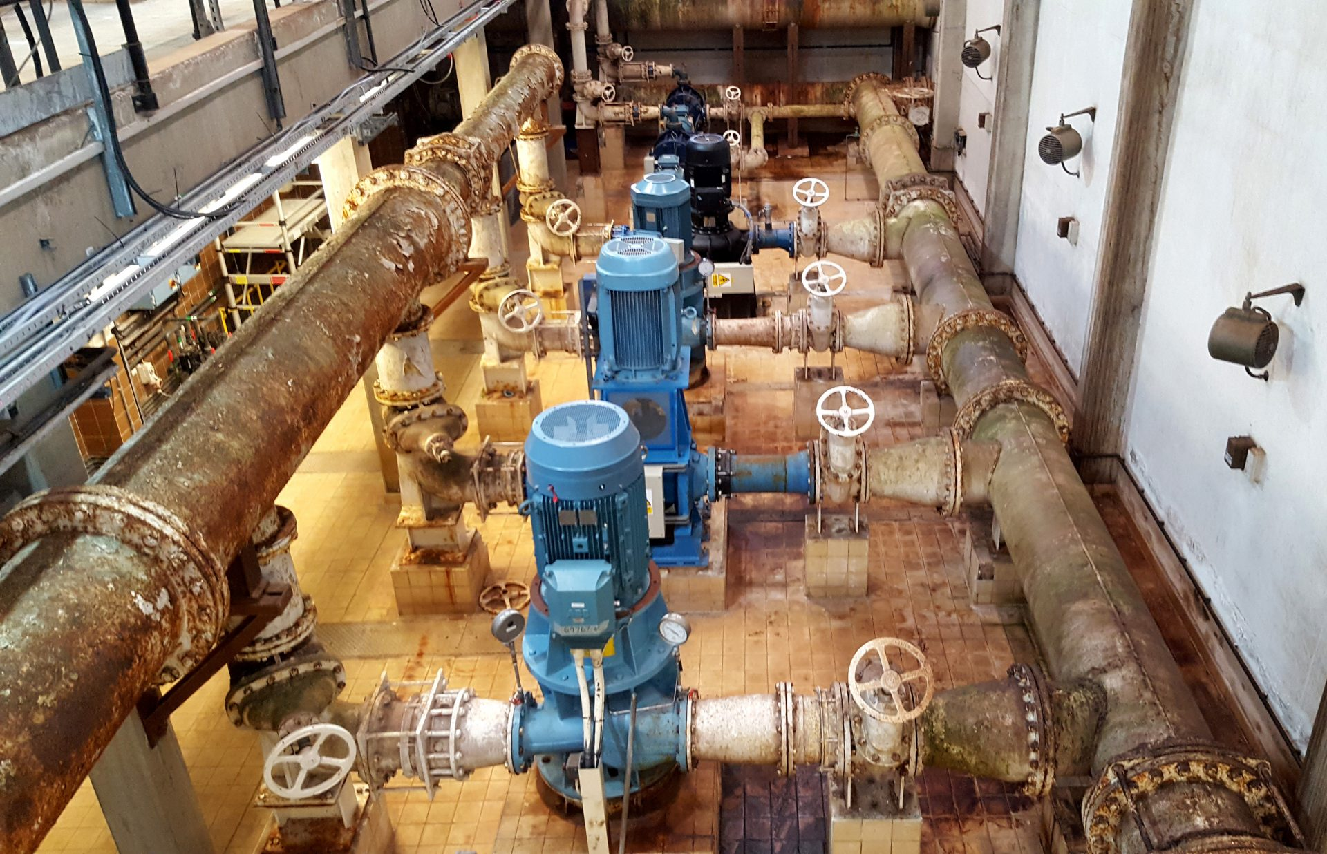 Water treatment works with hazardous tiled floor (before)