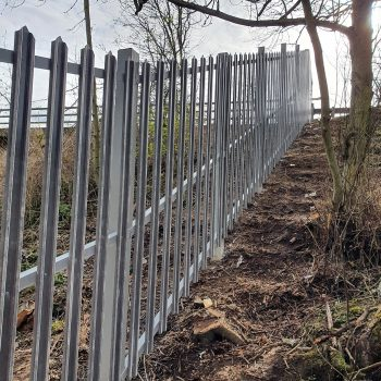 Evergrip GRP pallisade security river embankment fencing