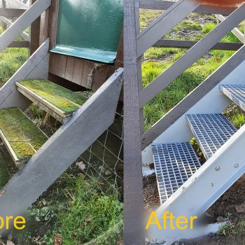 Step access with new GRP stringers and treads (Before & After)