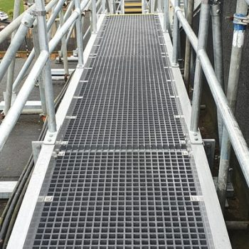 GRP grating for roof walkway at train station